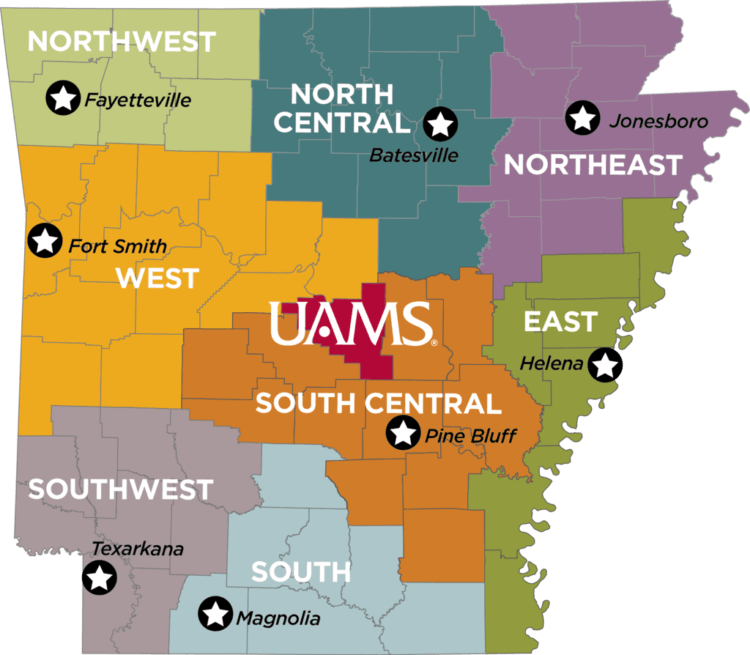 Arkansas map showing UAMS regional program areas.